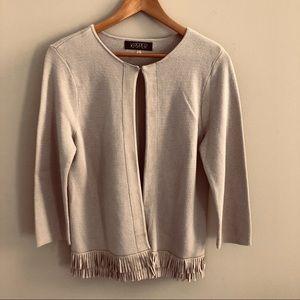 Kasper tan open cardigan with fringe trim size M